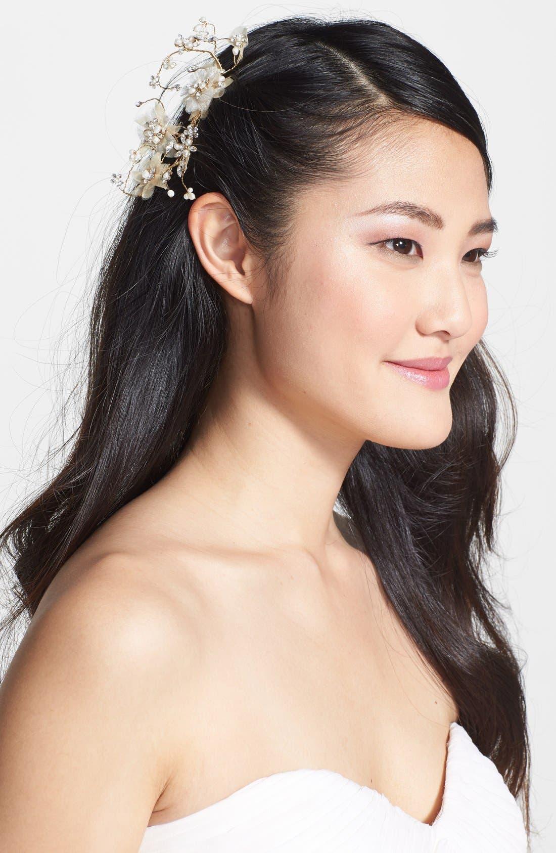 Alternate Image 1 Selected - Nina Freshwater Pearl & Crystal Hair Comb