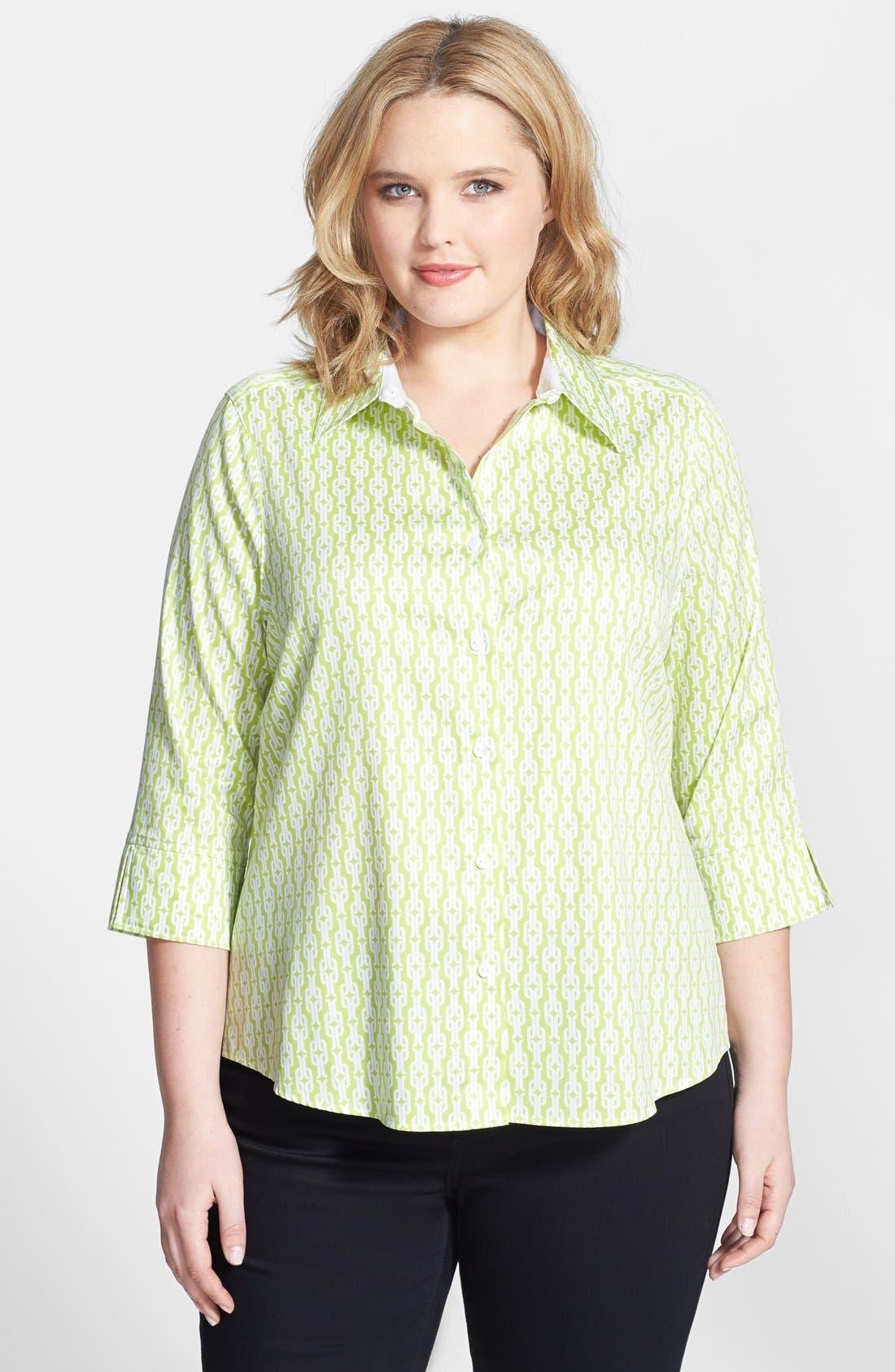 Main Image - Foxcroft Chain Link Print Shaped Non-Iron Cotton Shirt (Plus Size)