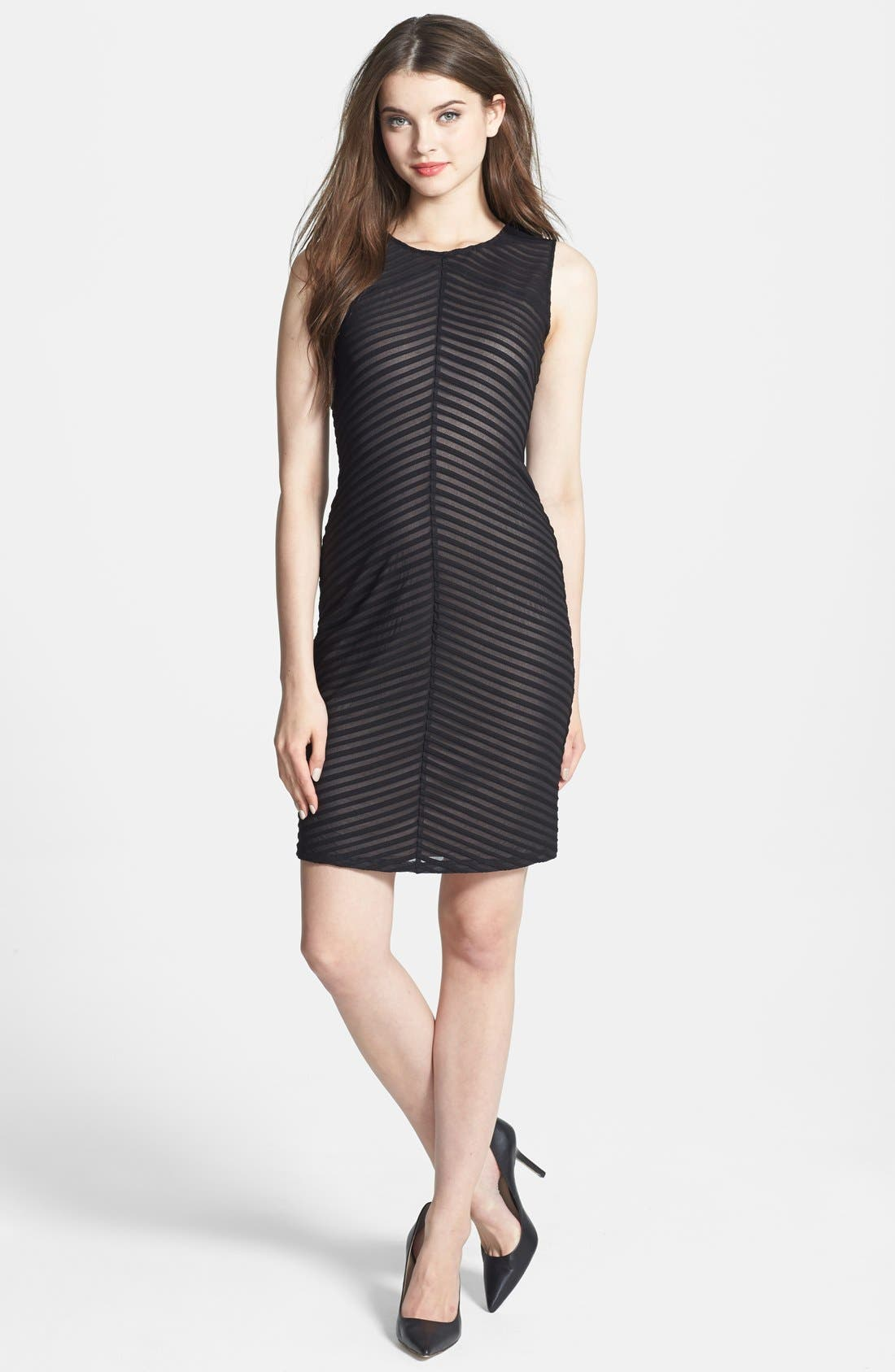 Alternate Image 1 Selected - Calvin Klein Contrast Lined Stretch Knit Sheath Dress