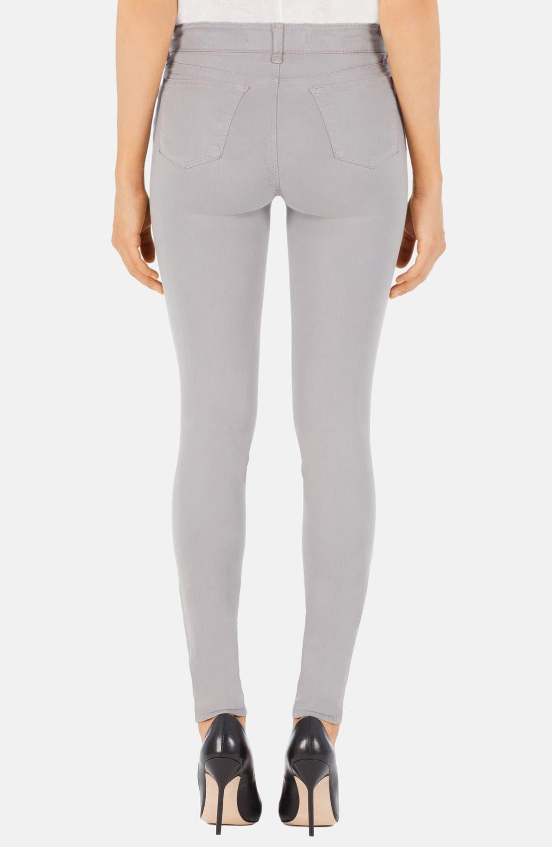 Alternate Image 2  - J Brand '485' Mid Rise Super Skinny Jeans (Limestone)