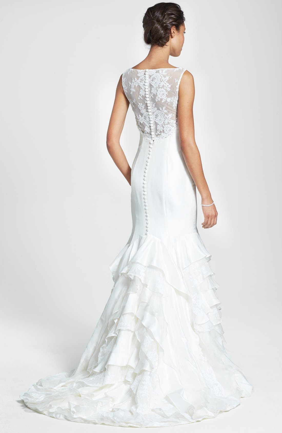Alternate Image 2  - Olia Zavozina 'Emma' Lace Inset Ruffled Silk Shantung Mermaid Dress (In Stores Only)