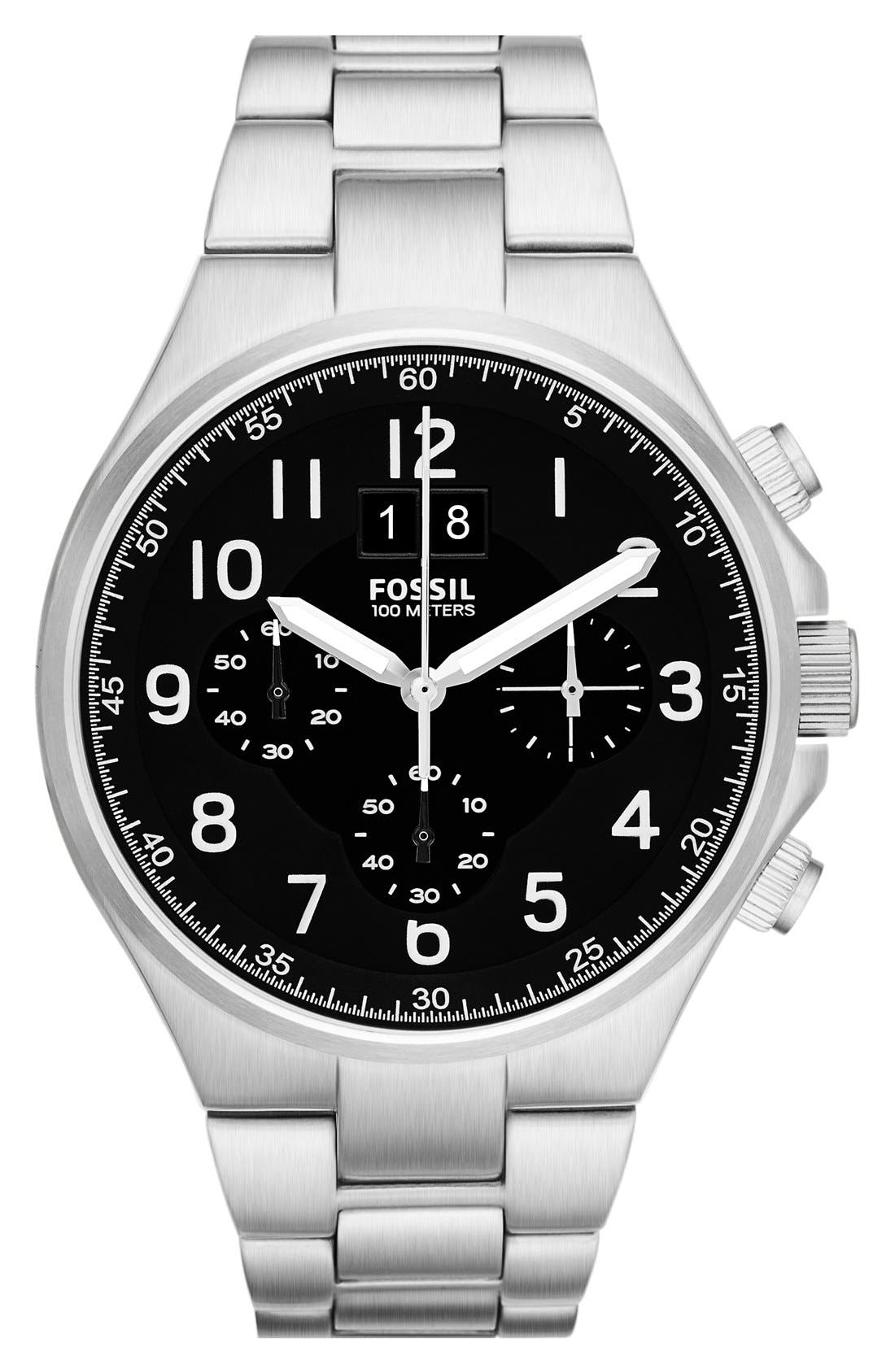 Main Image - Fossil 'Qualifier' Chronograph Bracelet Watch, 46mm