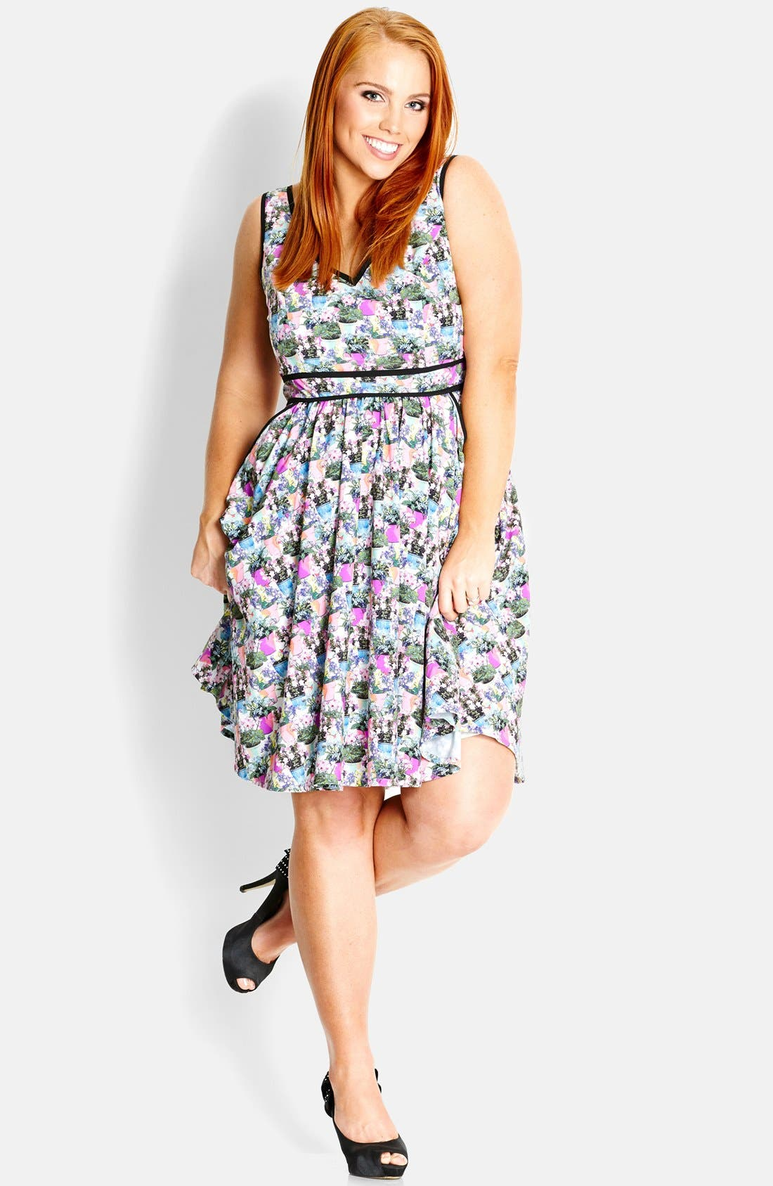 Alternate Image 1 Selected - City Chic 'Miss Flowerpot' Fit & Flare Dress (Plus Size)