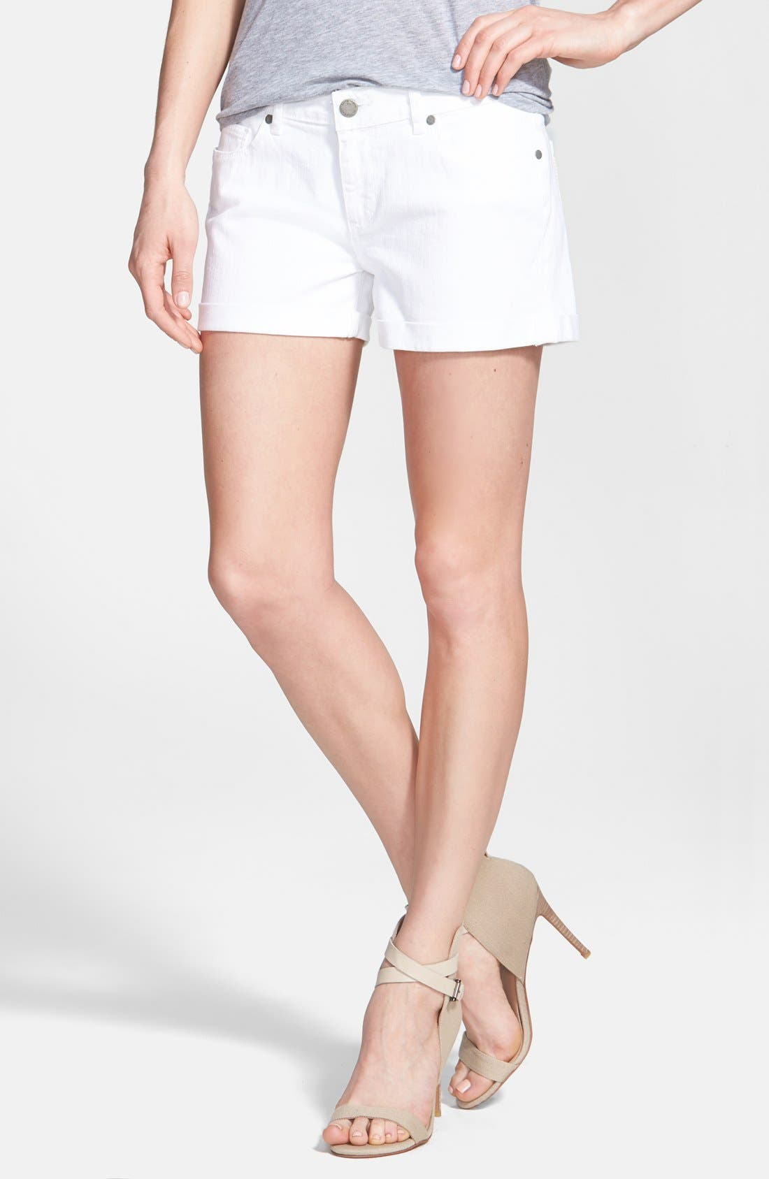 Paige Denim 'Jimmy Jimmy' Cuff Denim Shorts (Optic White)