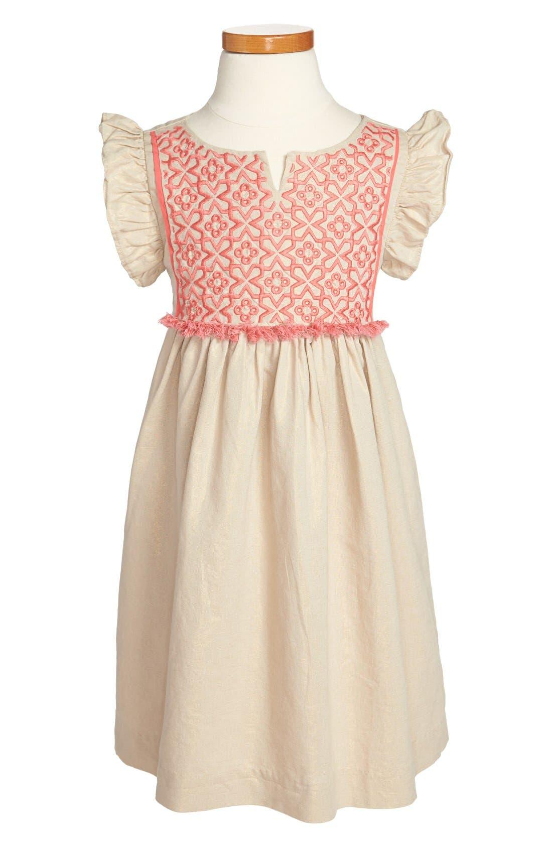 Main Image - Tea Collection 'Nabila Sparkle' Flutter Sleeve Dress (Toddler Girls, Little Girls & Big Girls)