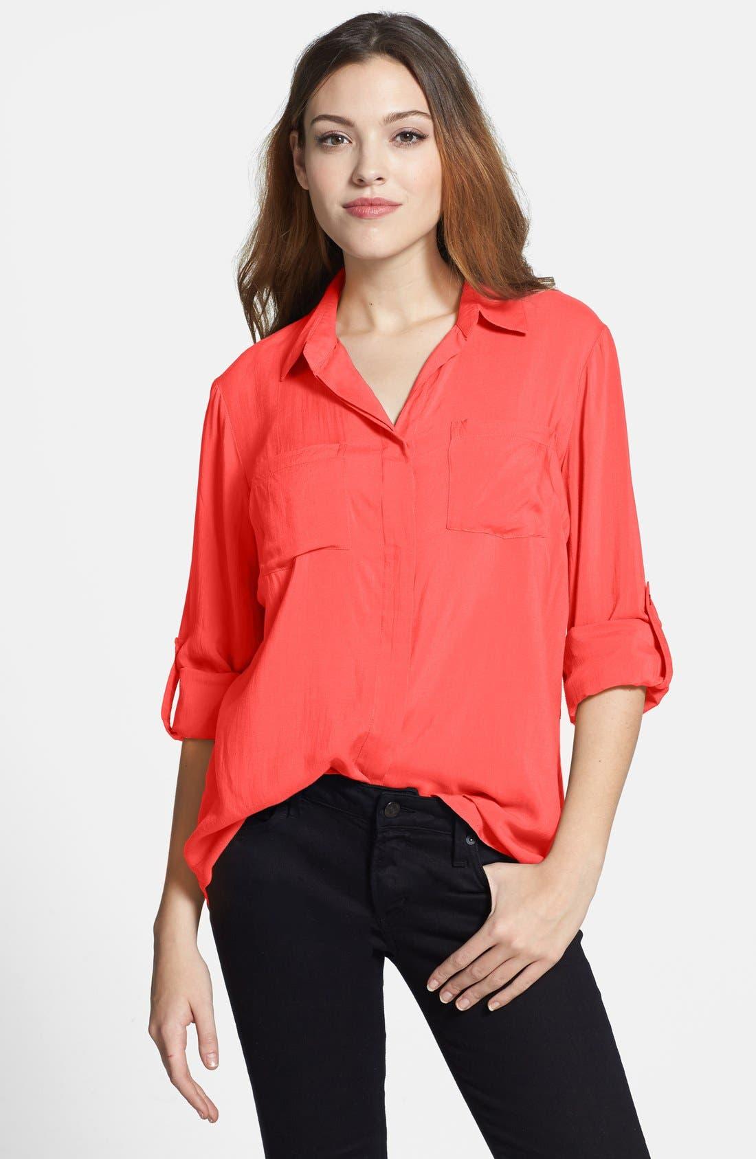Main Image - Sandra Ingrish Split Back Roll Sleeve Shirt (Regular & Petite)