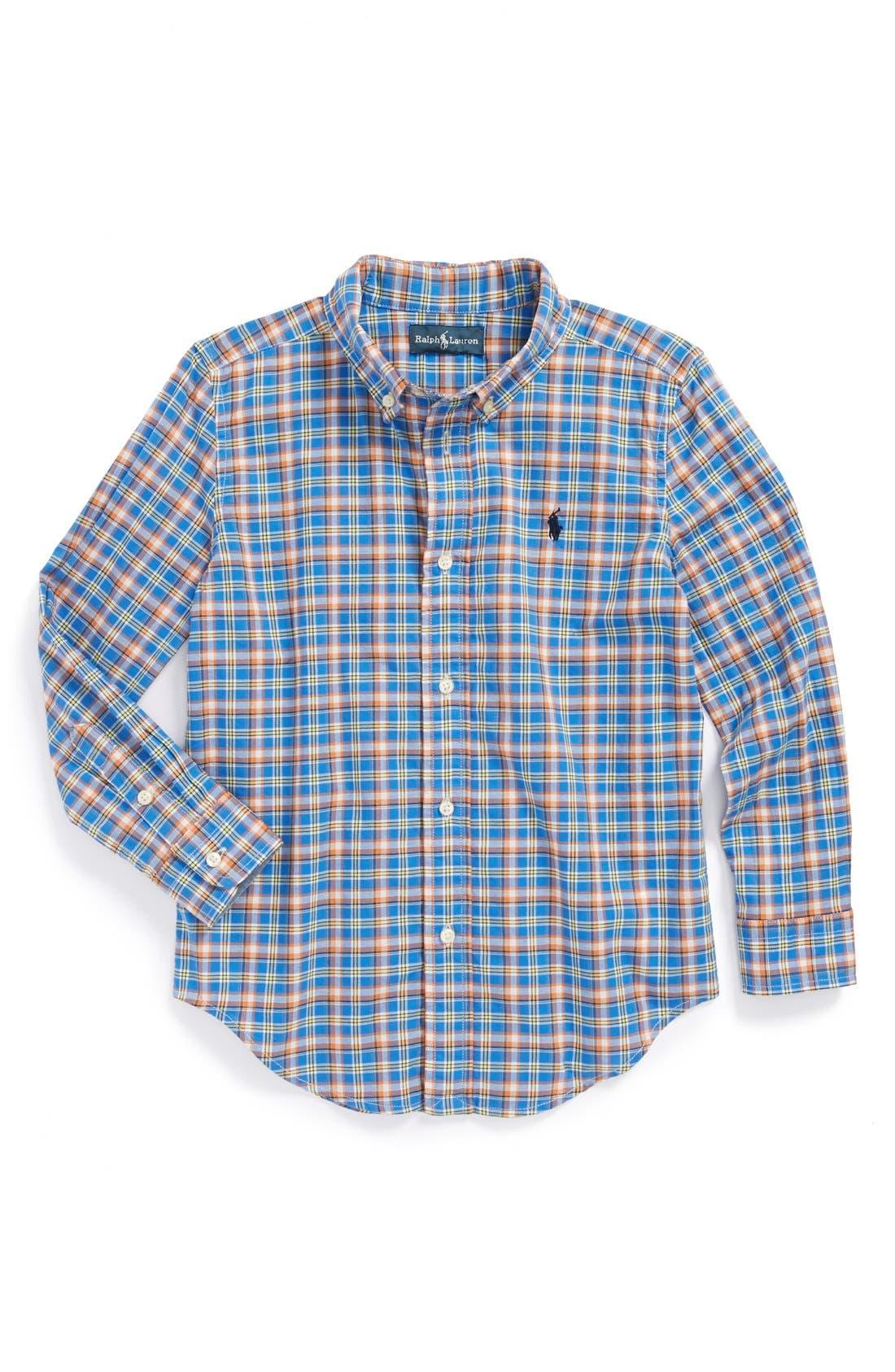 Alternate Image 1 Selected - Ralph Lauren Plaid Shirt (Toddler Boys)