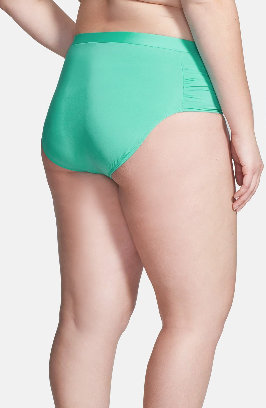 Alternate Image 2  - Cole of California Shirred Side Bikini Bottoms (Plus Size)