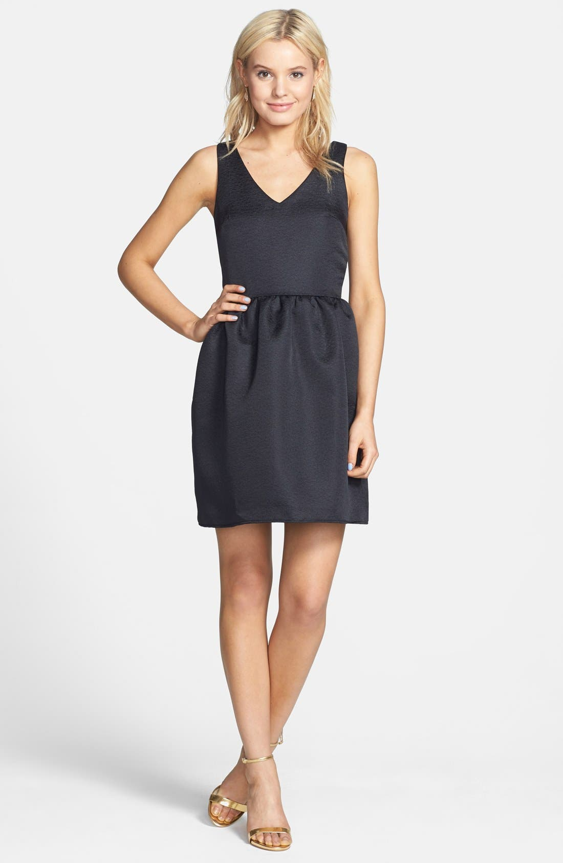 Main Image - Everly Embossed Fit & Flare Dress (Juniors)