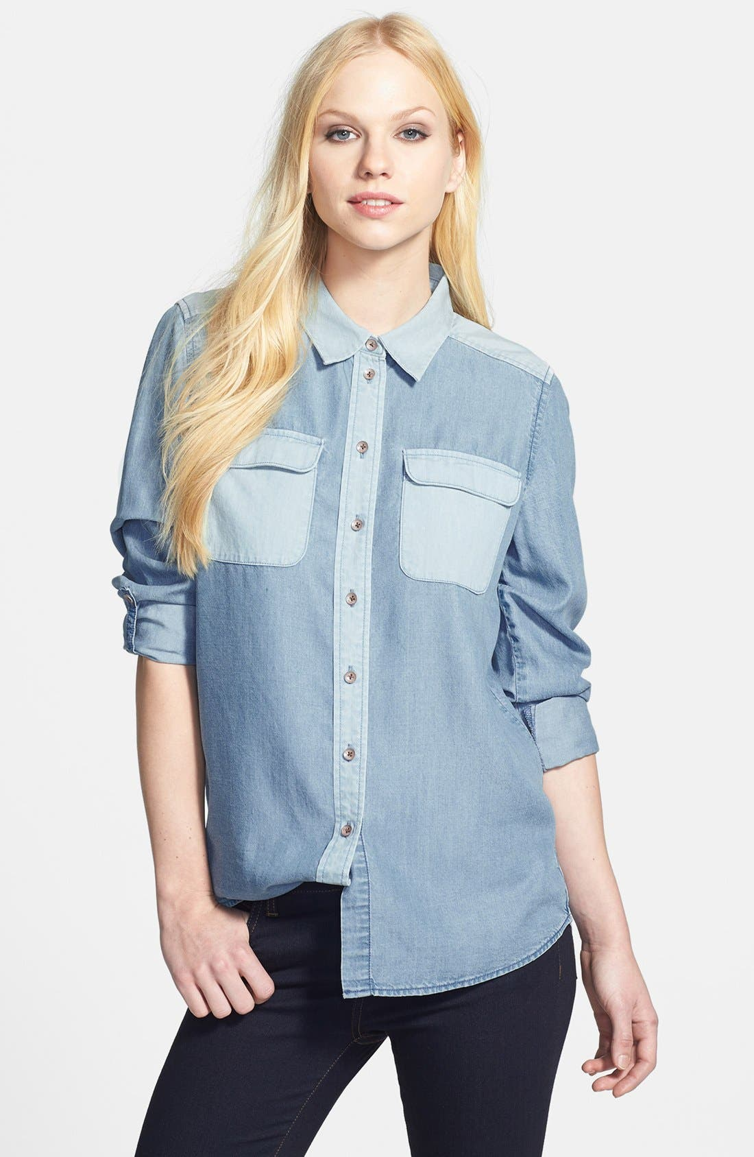 Alternate Image 1 Selected - Two by Vince Camuto Two-Tone Denim Utility Shirt
