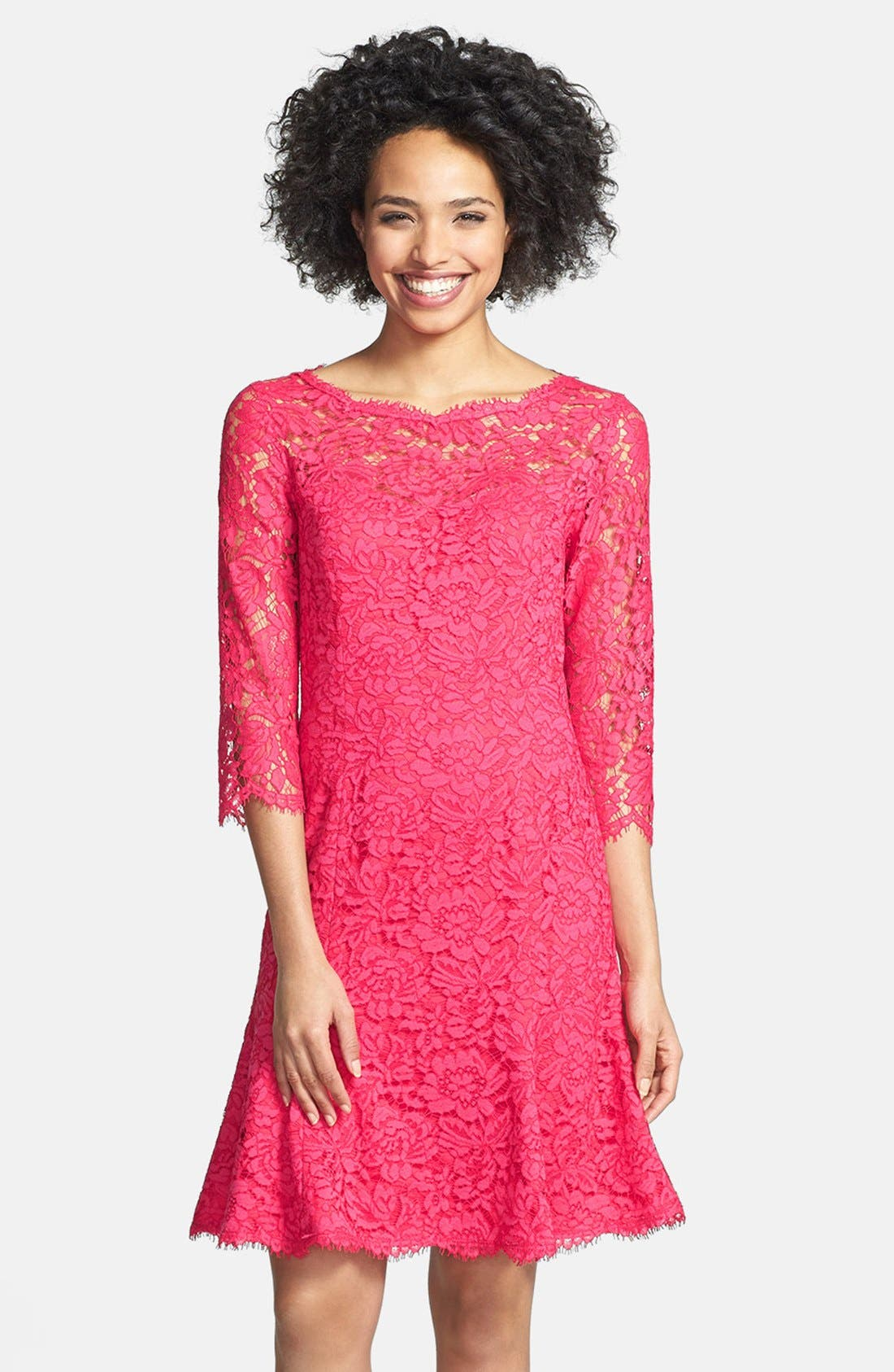 Alternate Image 1 Selected - Eliza J Lace Fit & Flare Dress (Regular & Petite)