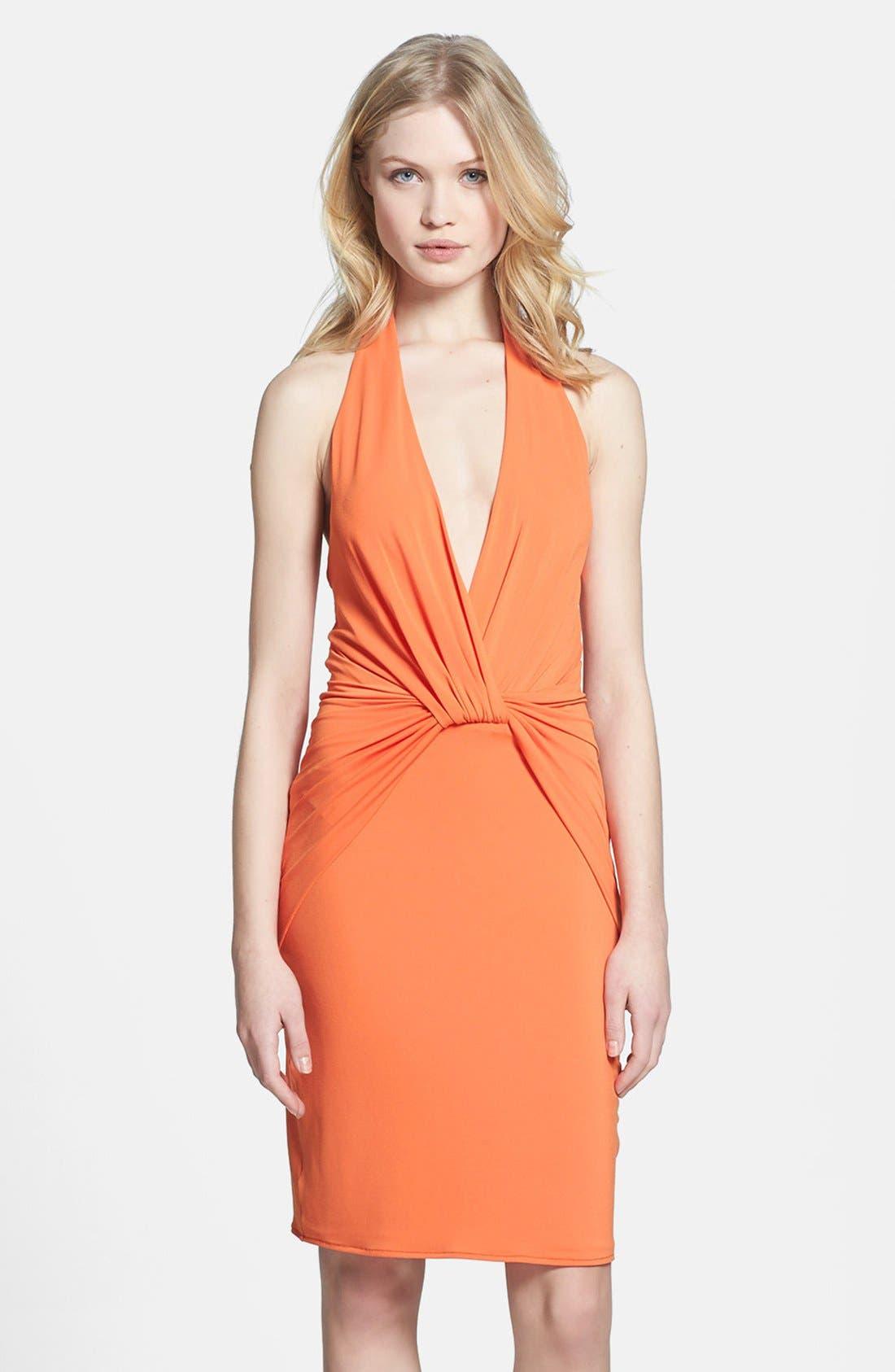 Main Image - Halston Heritage Knotted V-Neck Jersey Dress