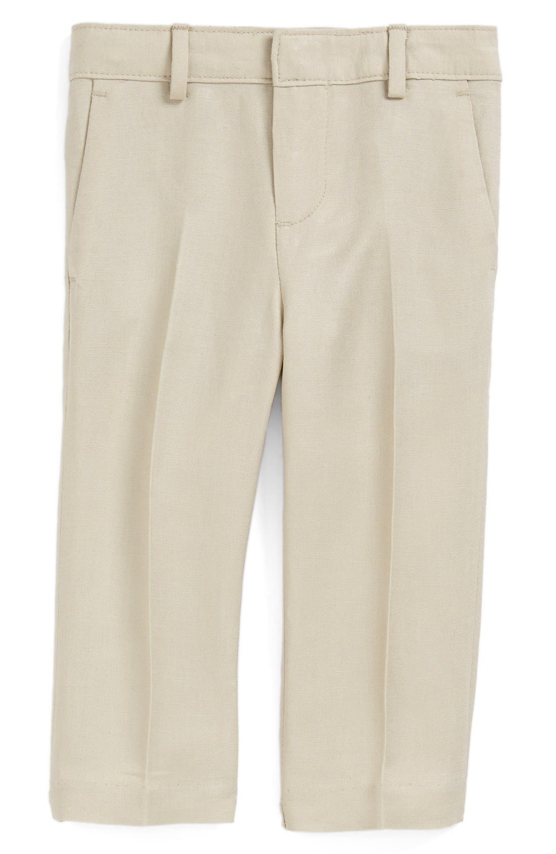 Main Image - Nordstrom 'Quentin' Linen Blend Trousers (Baby Boys)