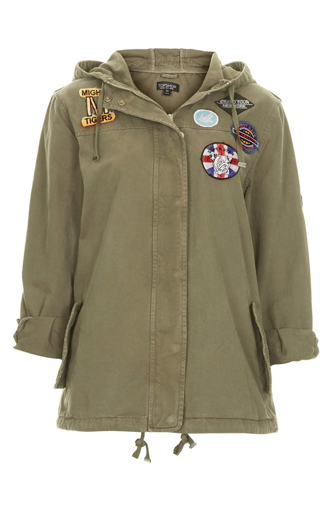 Alternate Image 3  - Topshop 'Ryan' Badge Detail Short Parka