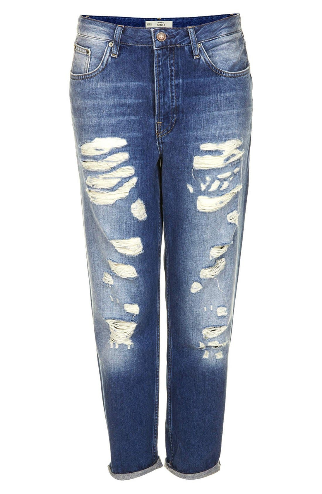 Alternate Image 3  - Topshop Moto 'Hayden' Destroyed Boyfriend Jeans (Mid Denim) (Regular & Short)
