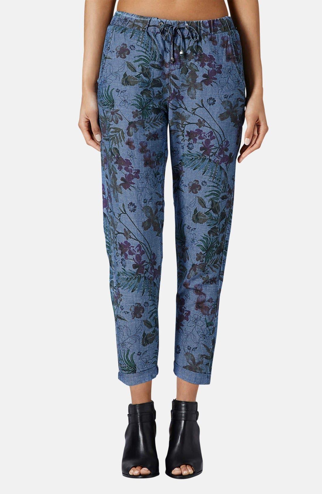 Alternate Image 1 Selected - Topshop Moto Floral Print Jogger Pants