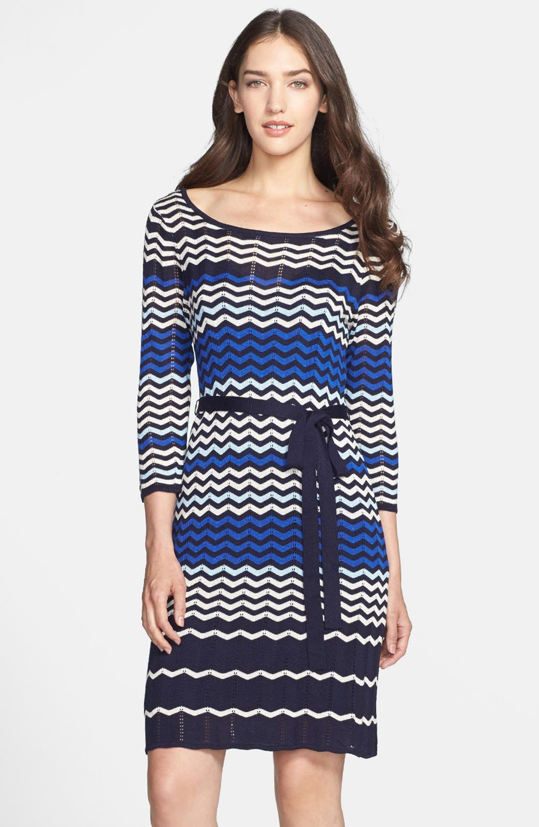 Main Image - Taylor Dresses Zigzag Knit Sweater Dress