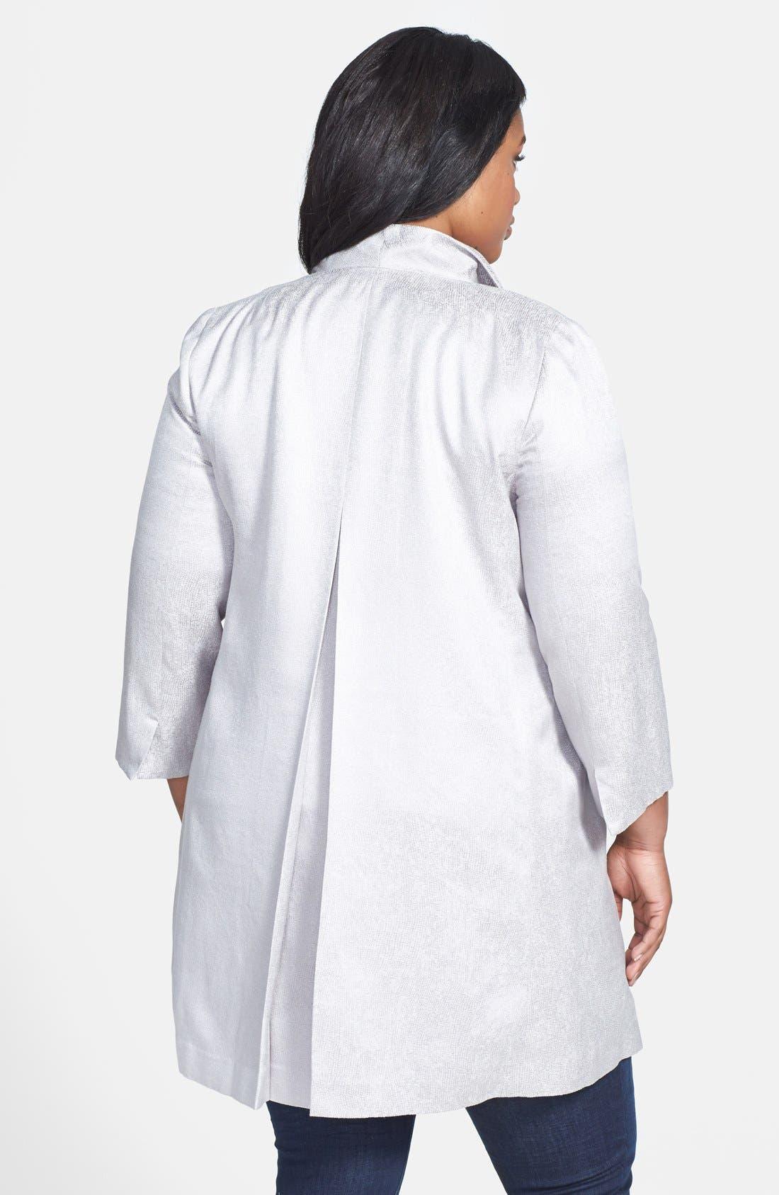 Alternate Image 2  - Eileen Fisher Jacquard Coat (Plus Size)