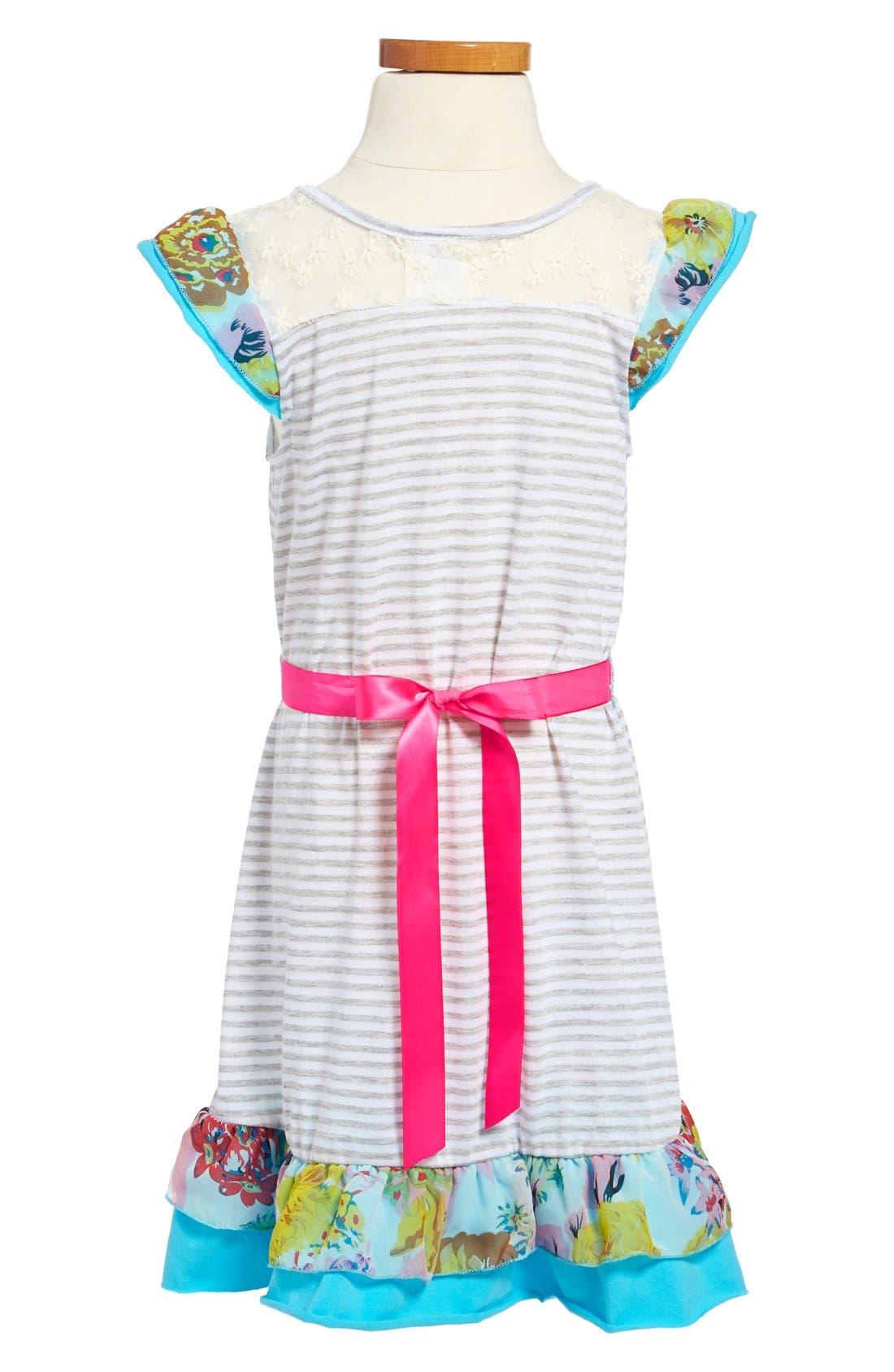 Alternate Image 2  - Ella and Lulu Flutter Sleeve Dress (Little Girls & Big Girls)