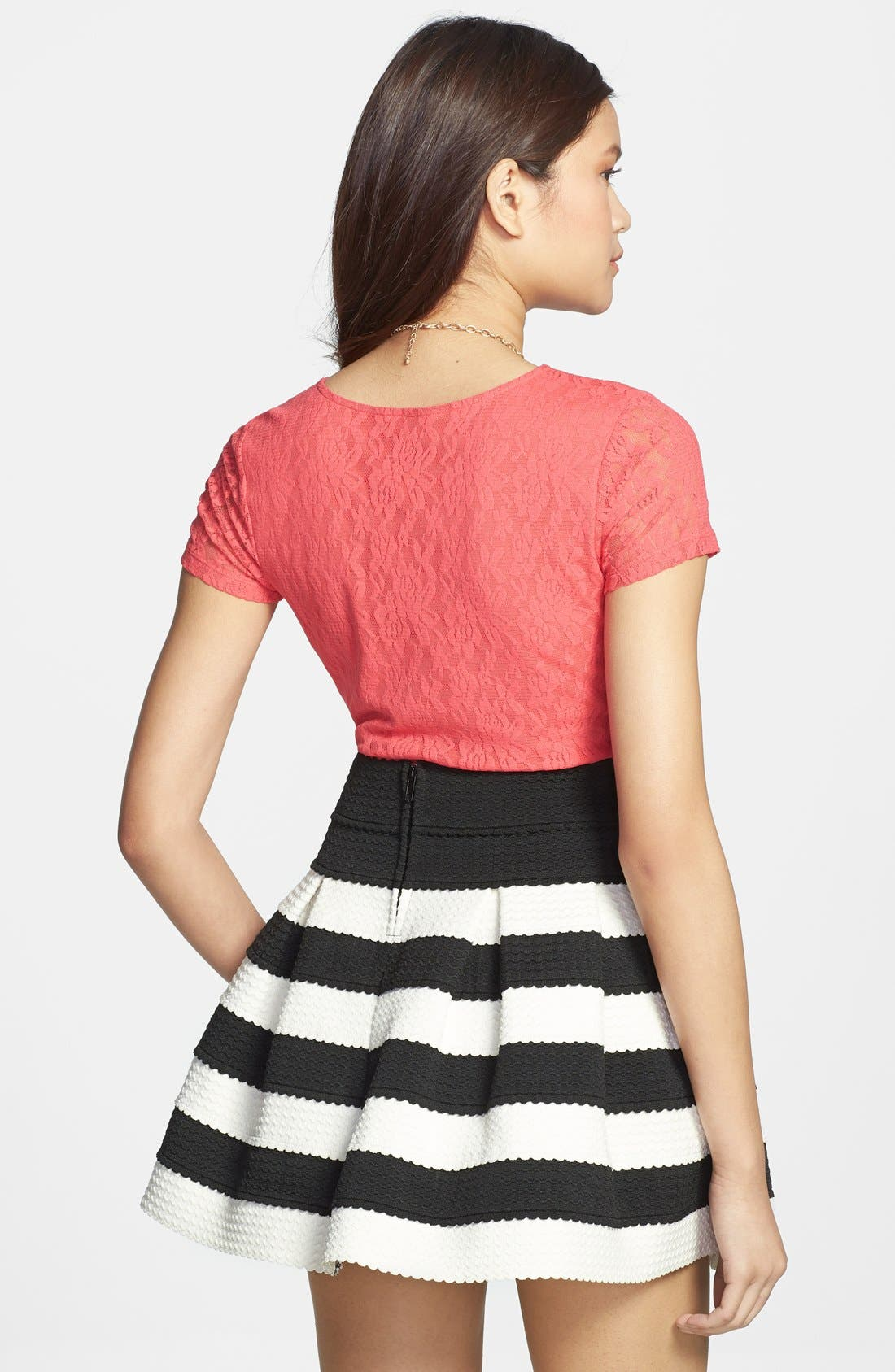 Alternate Image 2  - Frenchi® Lace Crop Top (Juniors)