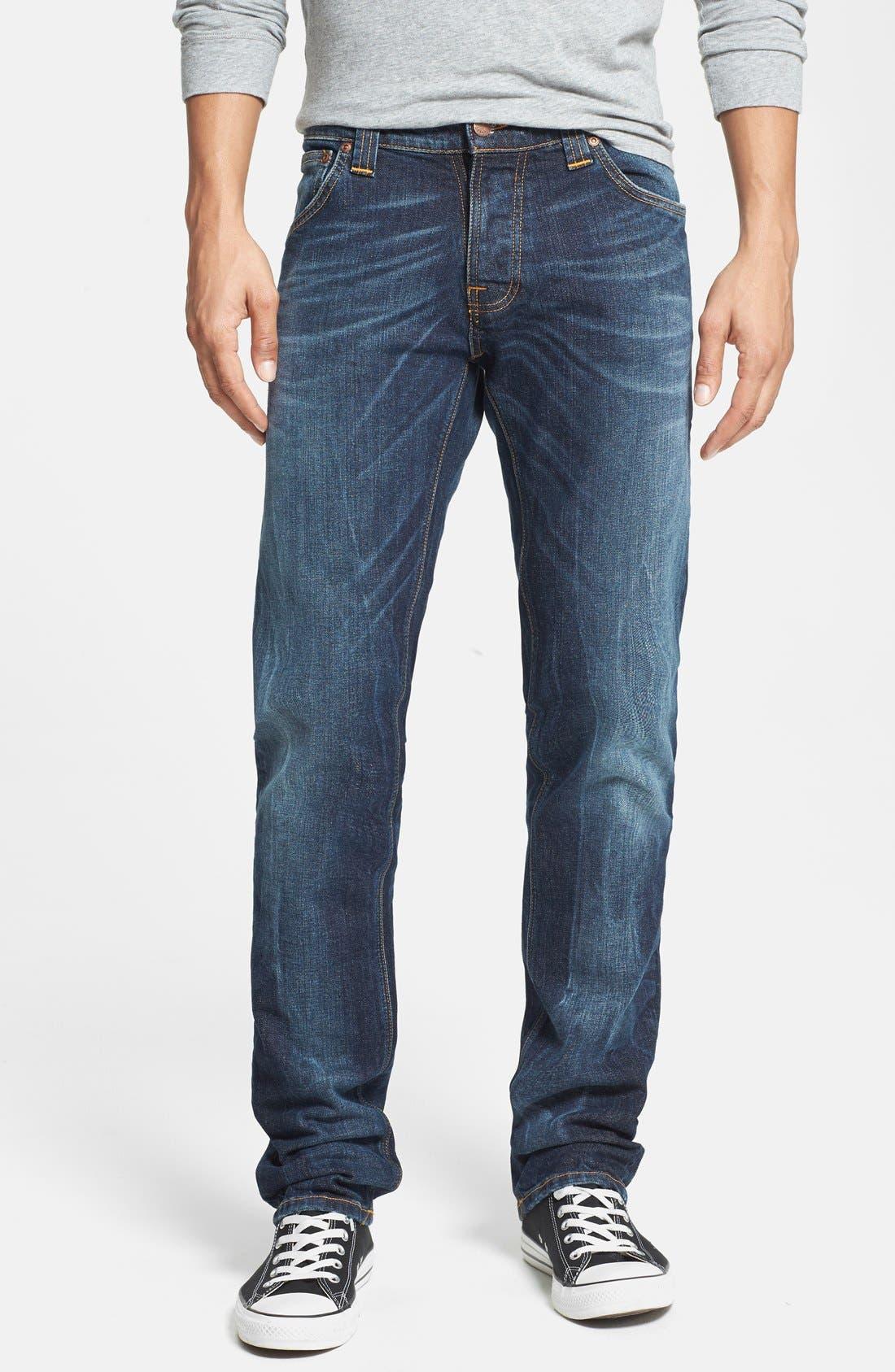 Alternate Image 1 Selected - Nudie Jeans 'Grim Tim' Skinny Fit Jeans (Organic Clean Dark Blue)