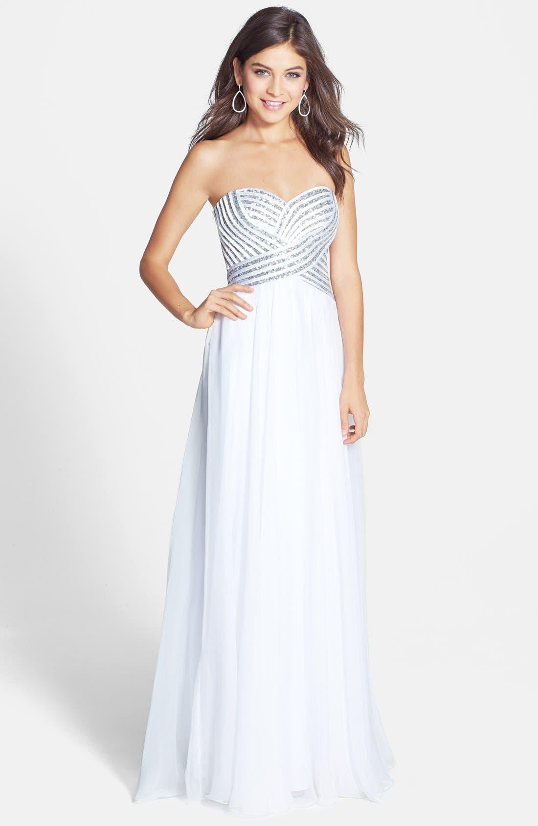 Alternate Image 1 Selected - La Femme Embellished Bodice Chiffon Gown