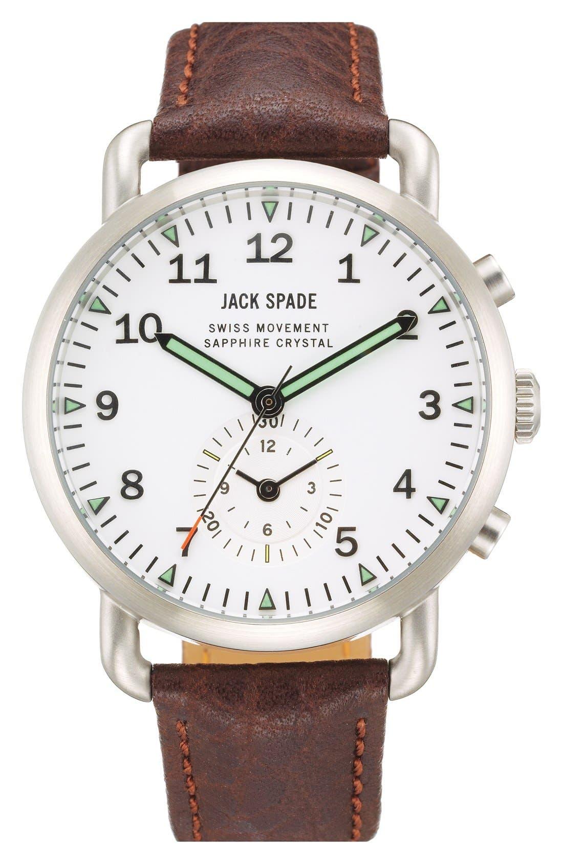 Alternate Image 1 Selected - Jack Spade 'Frasier' Chronograph Leather Strap Watch, 42mm