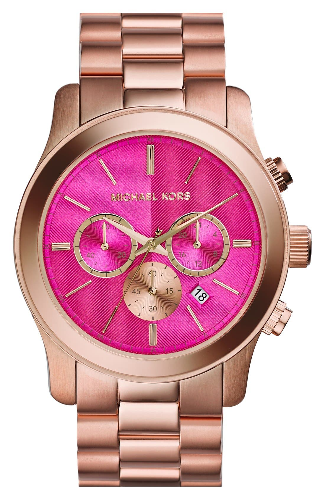 Main Image - Michael Kors 'Large Runway' Rose Gold Plated Watch, 45mm