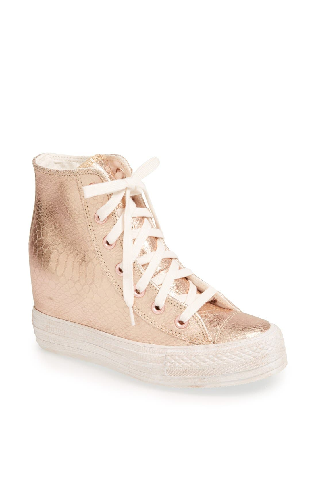 Alternate Image 1 Selected - Chuck Taylor® All Star® 'Platform Plus' Hidden Wedge Leather High-Top Sneaker (Women)