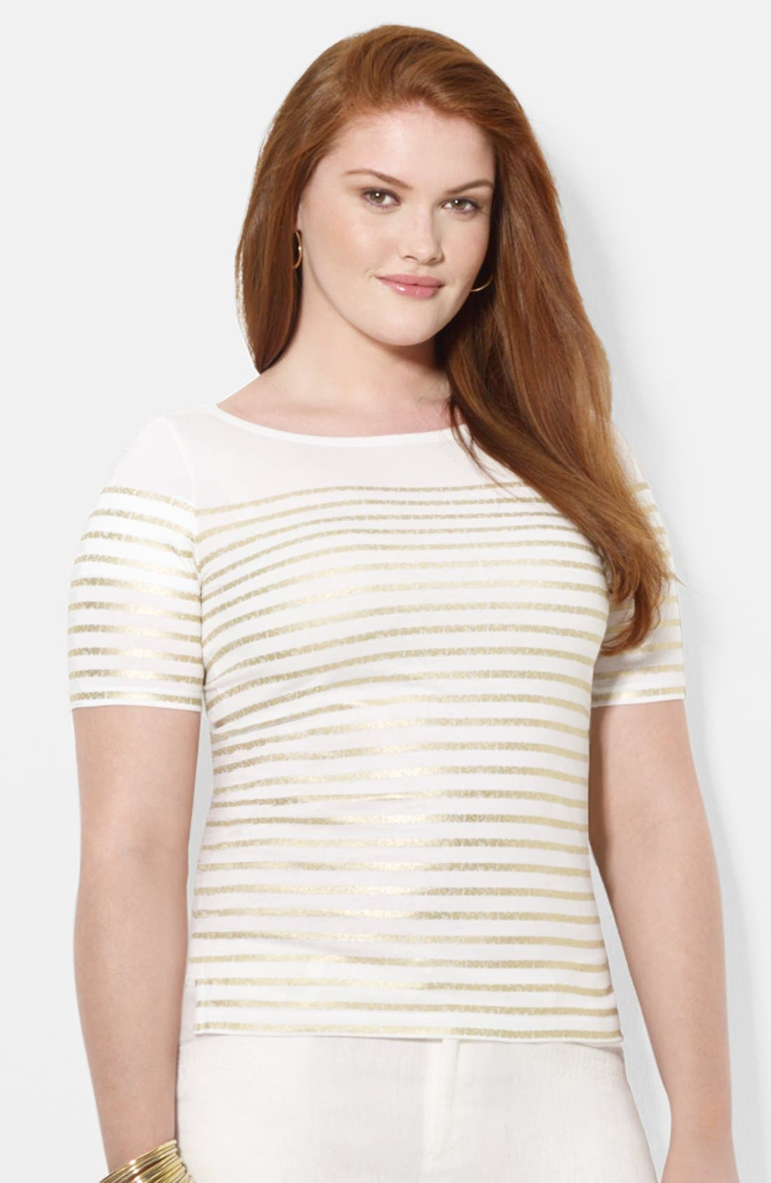 Alternate Image 1 Selected - Lauren Ralph Lauren Stripe Cotton Top (Plus Size)