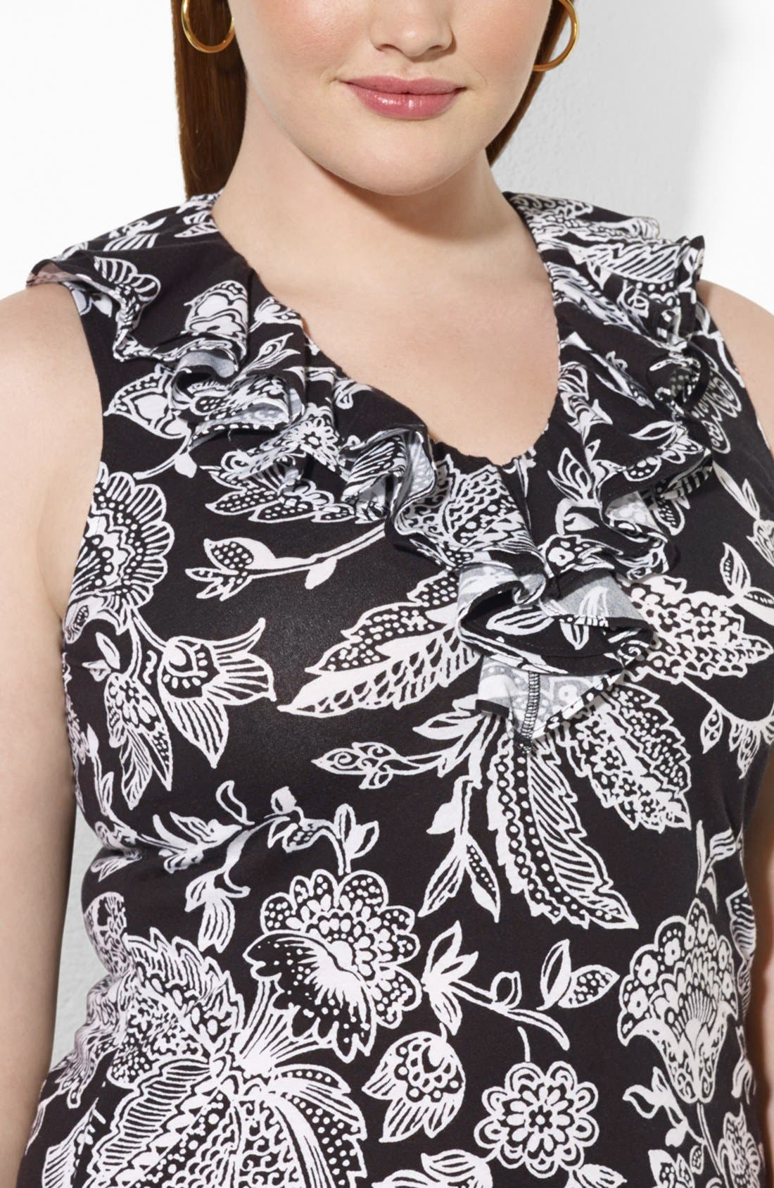 Alternate Image 3  - Lauren Ralph Lauren Floral Print Ruffle V-Neck Top (Plus Size)
