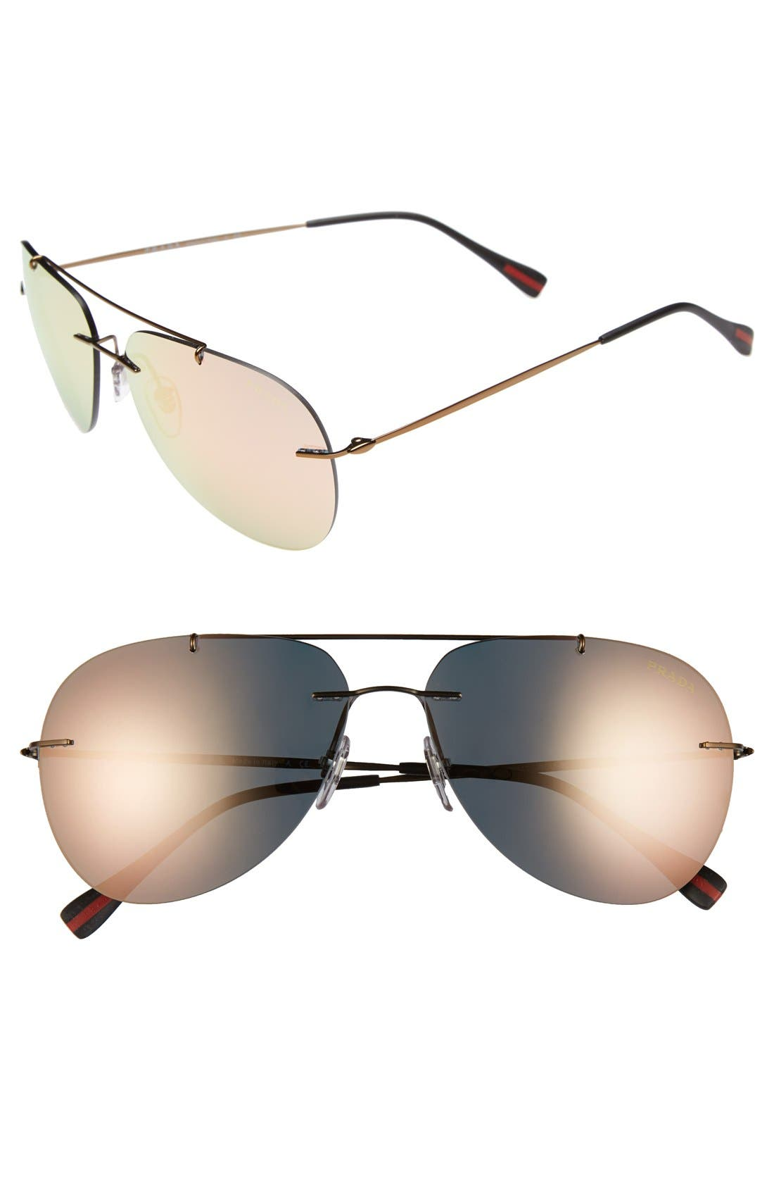 Main Image - Prada 60mm Rimless Aviator Sunglasses