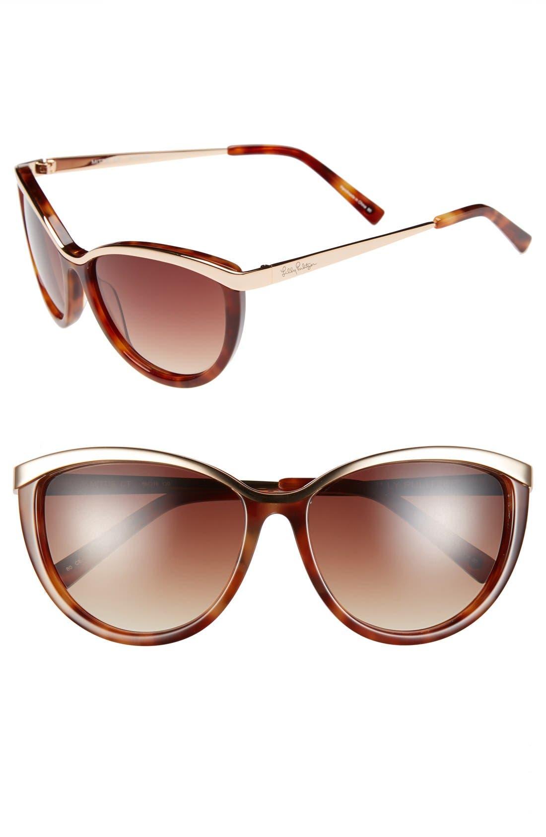 Lilly Pulitzer® 'Mittie' 56mm Cat Eye Sunglasses