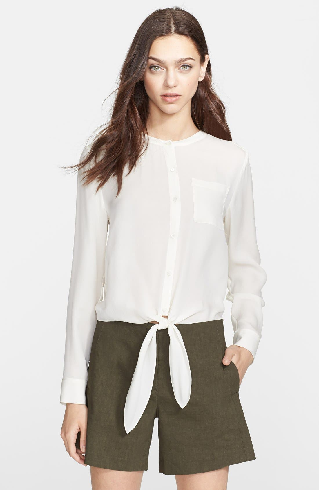 Alternate Image 1 Selected - Theory 'Kevin' Tie Front Silk Blouse