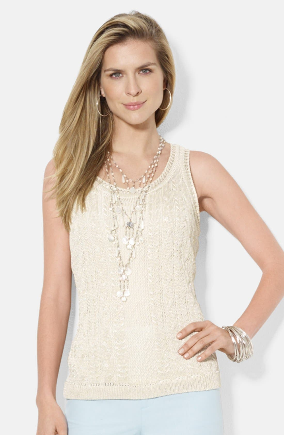 Main Image - Lauren Ralph Lauren Scoop Neck Sleeveless Shell (Regular & Petite)