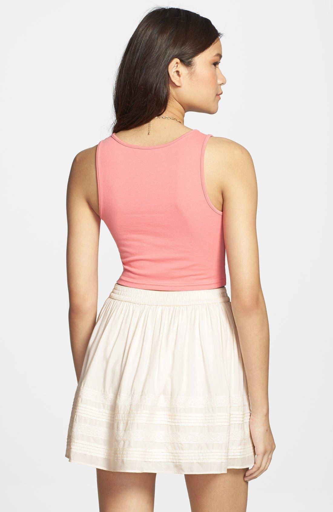 Alternate Image 2  - Rubbish® Pleat Lace Trim Full Skirt (Juniors)