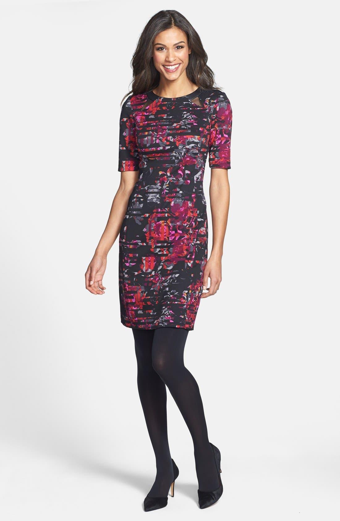 Alternate Image 5  - Taylor Dresses Floral Print Scuba Sheath Dress