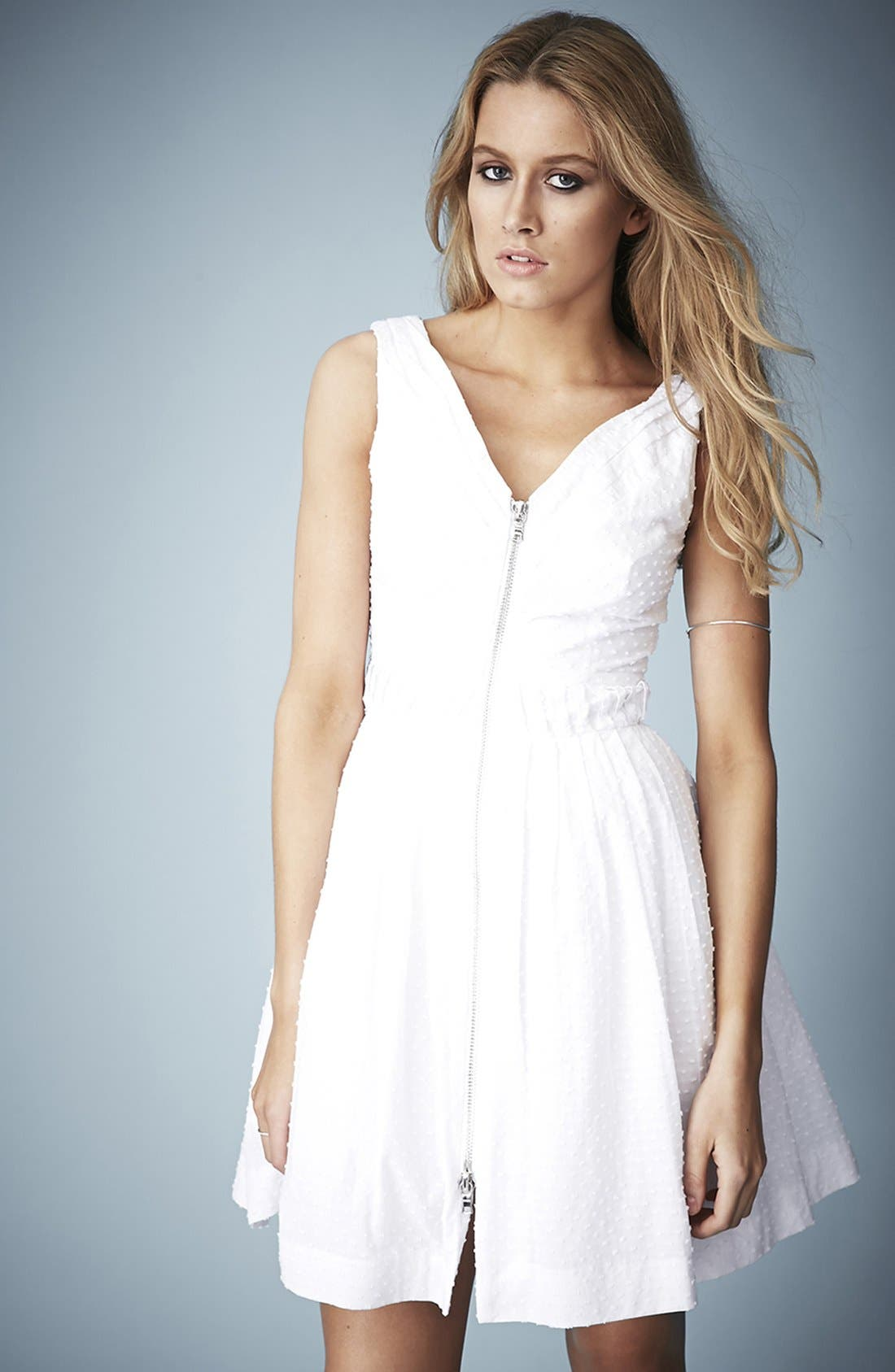 Main Image - Kate Moss for Topshop Zip Front Cotton Dobby Sundress