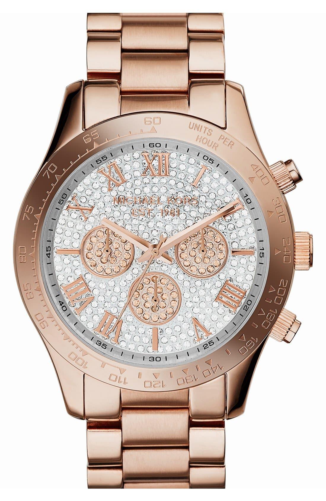 Main Image - Michael Kors 'Layton' Pavé Dial Chronograph Bracelet Watch, 43mm
