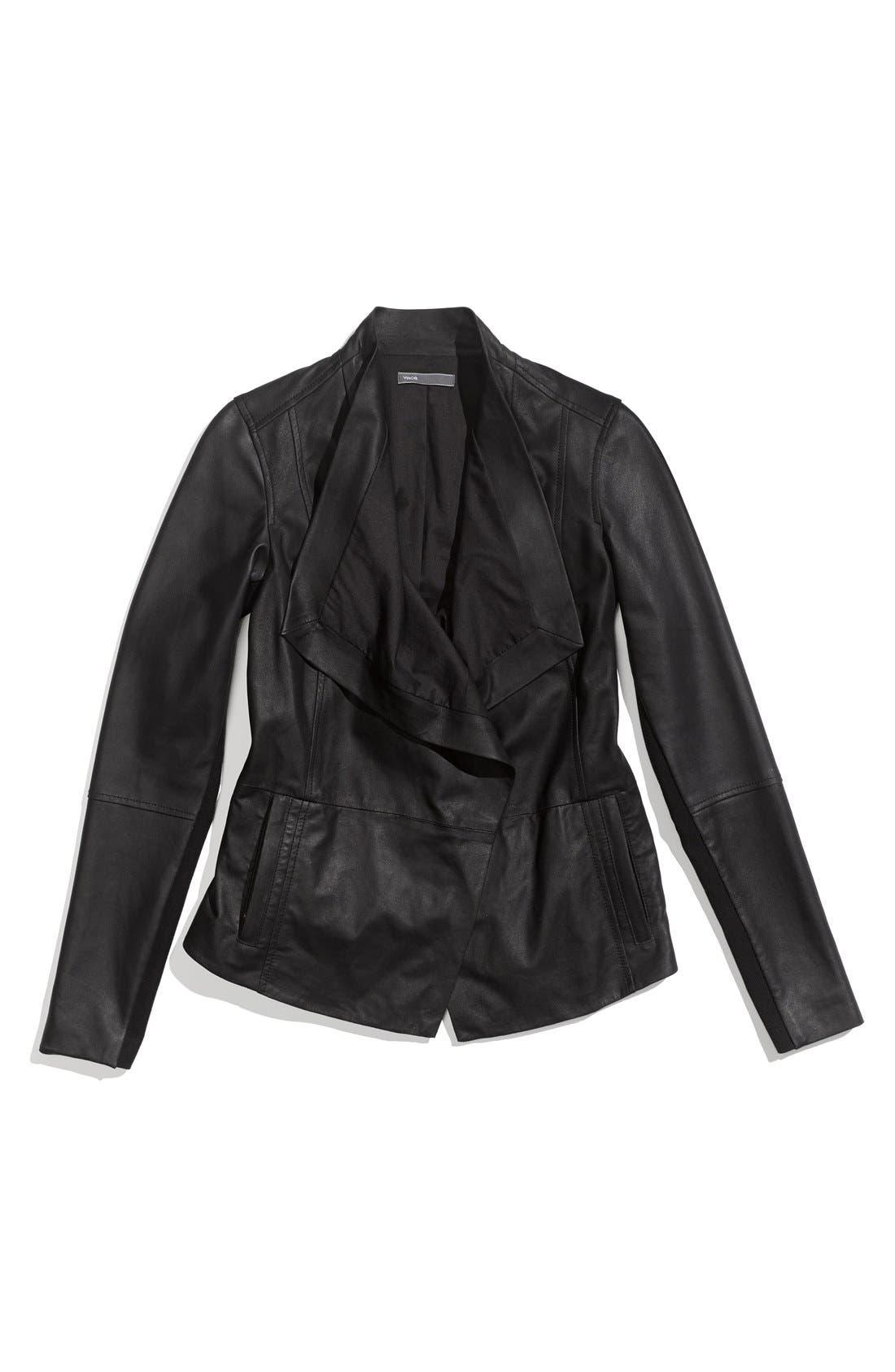 Alternate Image 4  - Vince Drape Neck Leather Jacket