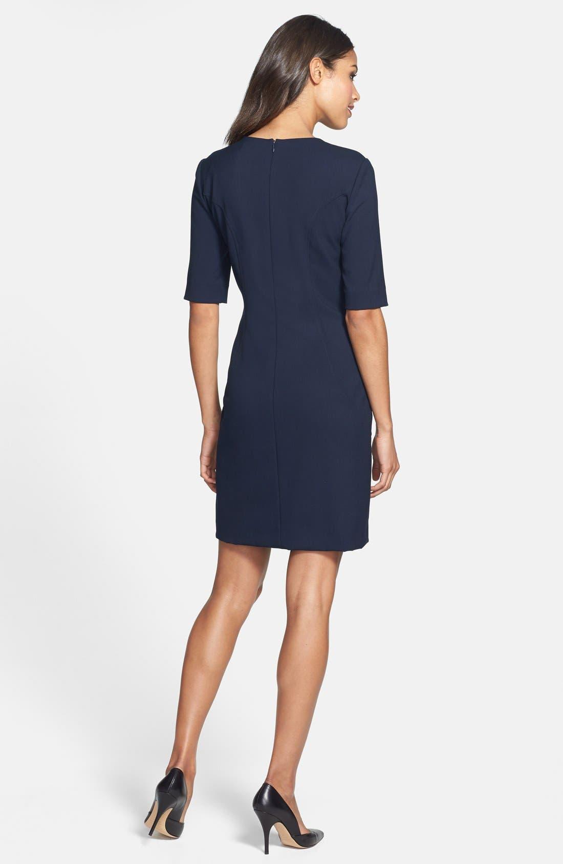 Alternate Image 2  - Tahari V-Neck Shift Dress (Regular & Petite) (Online Only)