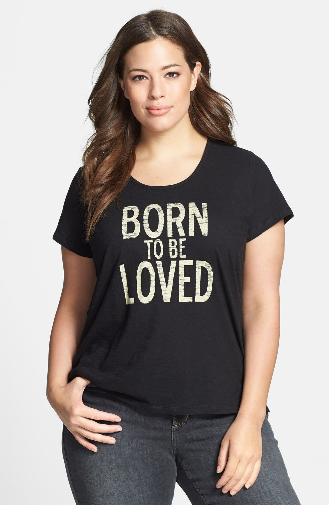 Alternate Image 1 Selected - Two by Vince Camuto 'Born to be Loved' Slub Jersey Tee (Plus Size)