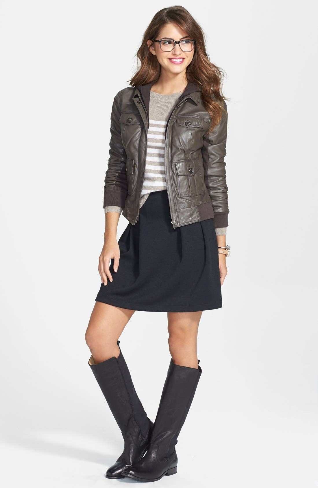 Alternate Image 4  - Caslon® Hooded Leather Jacket