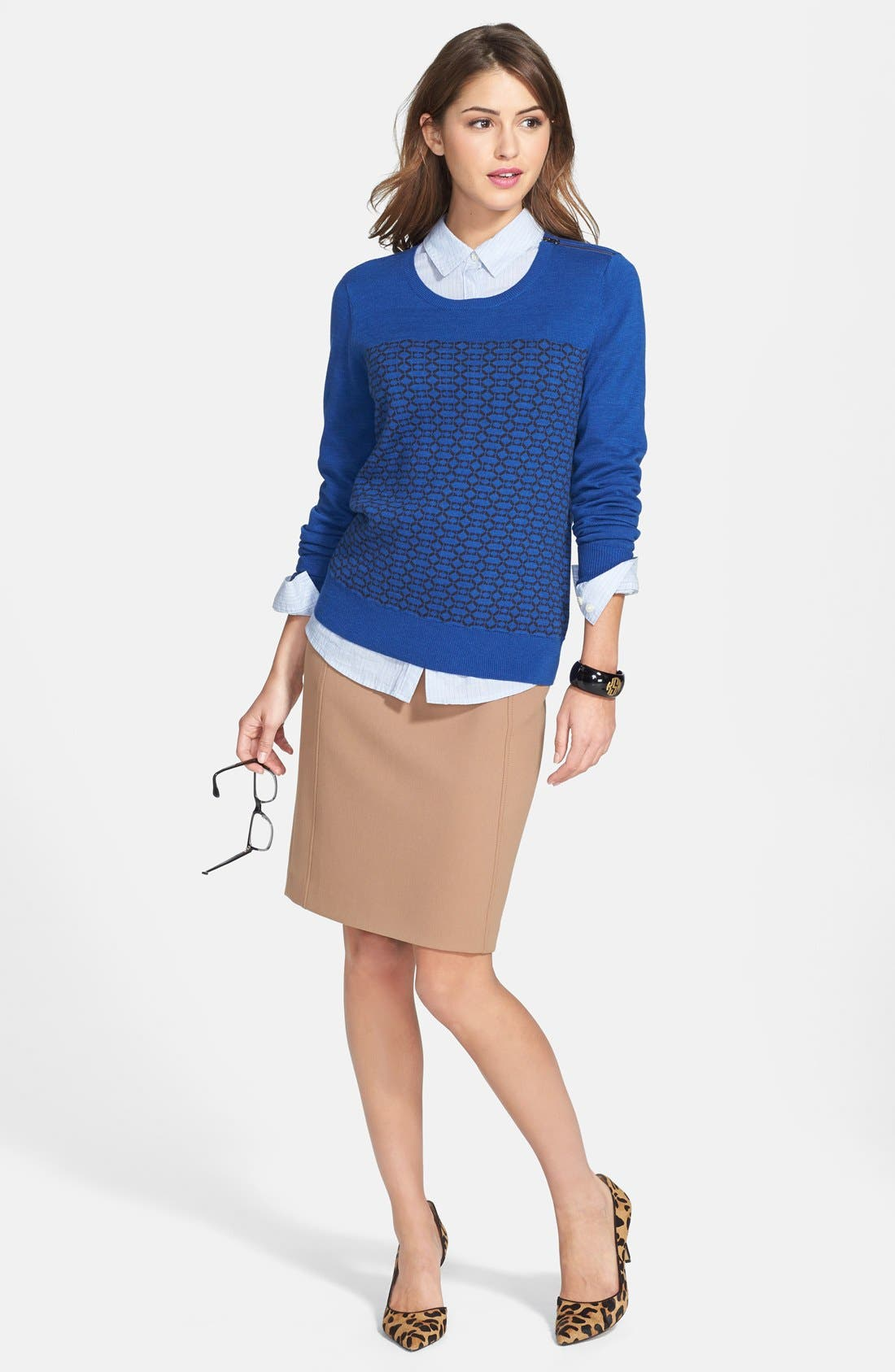 Alternate Image 5  - Halogen® Seamed Pencil Skirt (Regular & Petite)