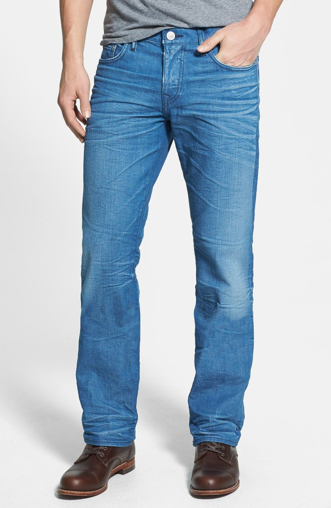 Alternate Image 2  - True Religion Brand Jeans 'Bobby' Straight Leg Jeans (Azql Blue Caps)