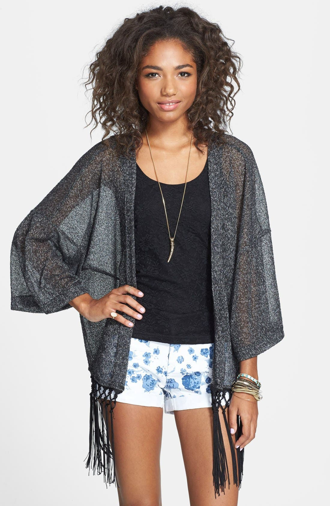 Alternate Image 1 Selected - Rubbish® Fringed Kimono Cardigan (Juniors)