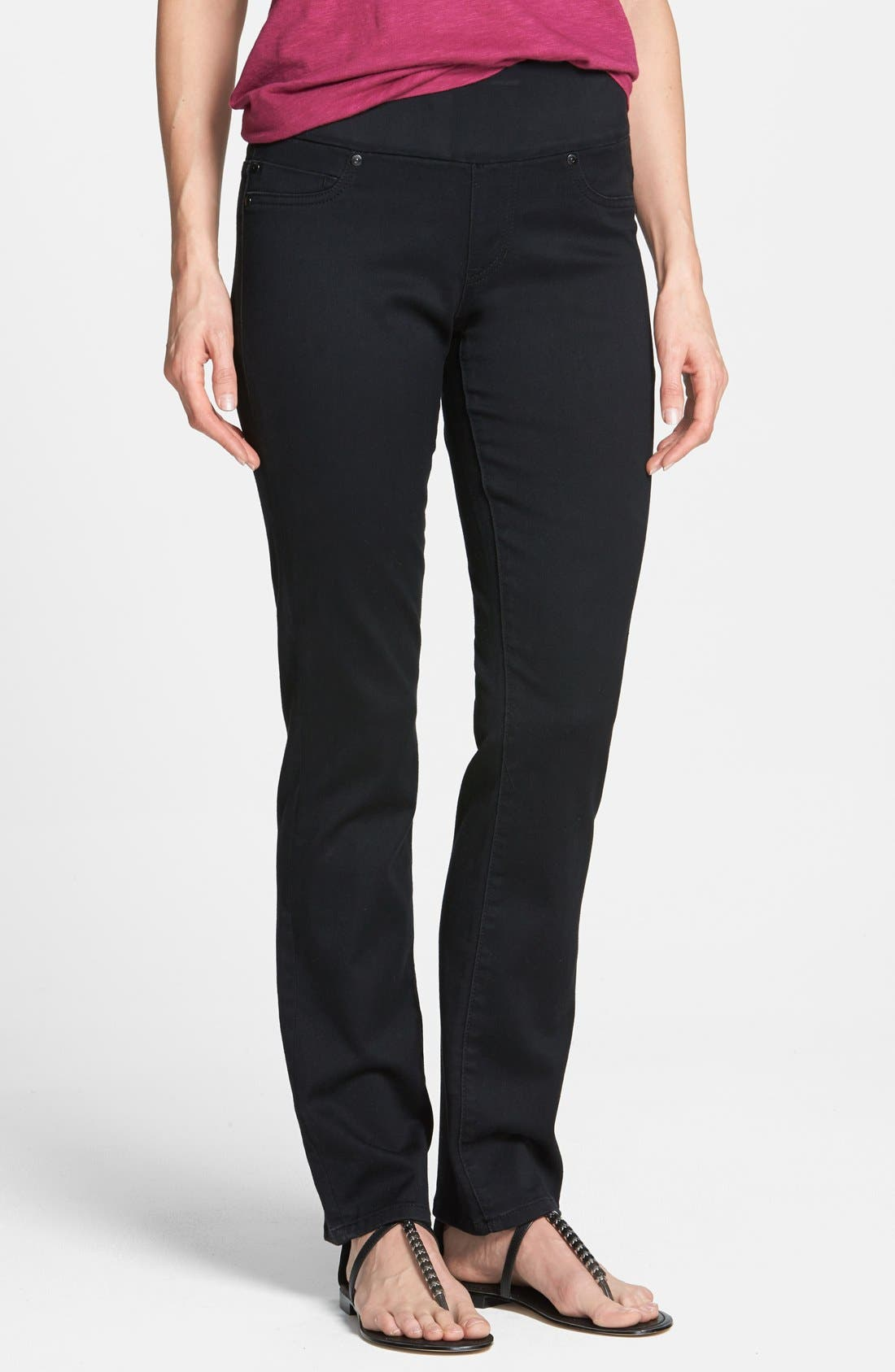 Alternate Image 1 Selected - Liverpool Jeans Company 'Jillian' Pull-On Straight Leg Jeans (Black Rinse)