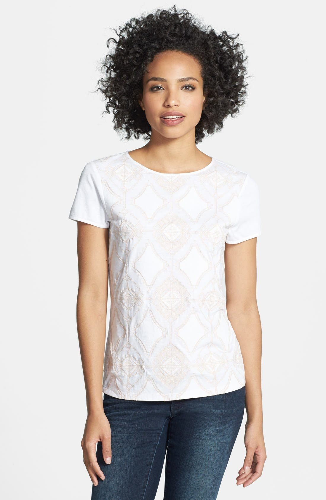 Main Image - Adrianna Papell Embroidered Cotton & Modal Tee
