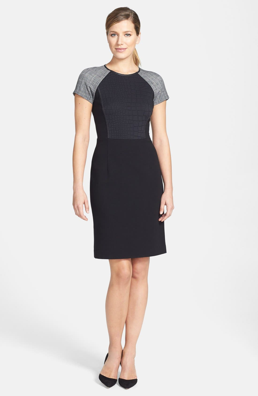 Main Image - Lafayette 148 New York Croc Embossed Panel Punto Milano Sheath Dress