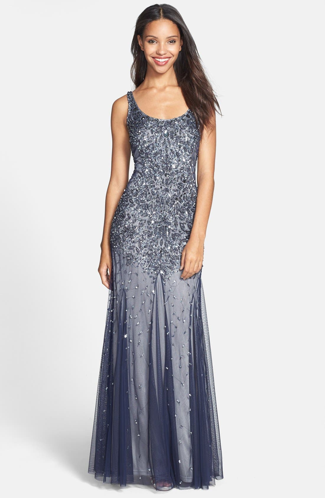 Main Image - Adrianna Papell Beaded Mesh Tank Gown